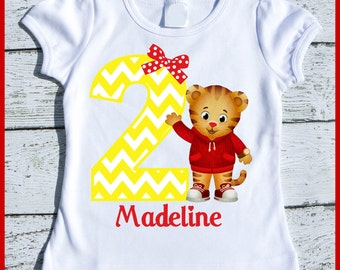 Custom Personalized Girl Daniel the Tiger Birthday tee shirt with yellow chevron and red