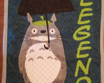 baby quilt blanket Totoro Anime applique handmade gift crib wall hanging personalized shower child boy girl