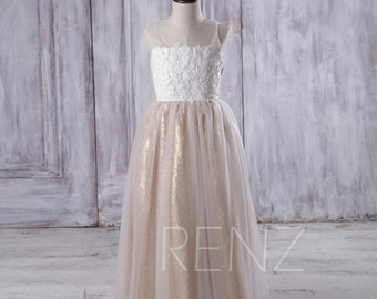 Off White Soft Tulle Junior Bridesmaid Dress Long, Gold Sequin Flower Girl Dress, Lace Illusion Neck Children Dress Beading (LK120)