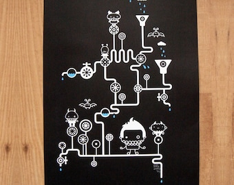 Screenprint in waterbased blue and white ink on thick black paper (A3) Waterguys