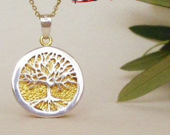 TREE OF LIFE pendant, silver enamel pendant, on sale, gift for her, mother to be gift, good life gift, good luck gift, free shipping