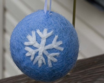 Needle Felted Ornament Christmas Snowflake Ornament Blue Ornament Christmas Bauble