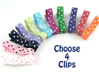 CHOOSE 4 polka dot hair clips - baby hair clips - girls hair clips - polka dot hair bows tuxedo bow small hair clips - non slip barrettes
