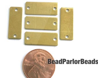 5 (five) raw brass 20x8mm rectangle stamping blanks with 2 holes