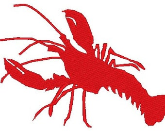 Solid Lobster Embroidery Design File - multiple formats - one color design - 2 sizes - instant download