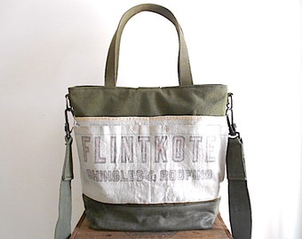 Military waxed canvas,nail apron carryall, large tote, diaper bag - 40s Flintkote - eco vintage fabrics