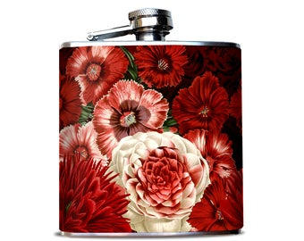 Red Flower Bouquet, Feminine Hip Flask, Beautifu flask for Woman, Victorian Flower print, Old Fashioned Peony