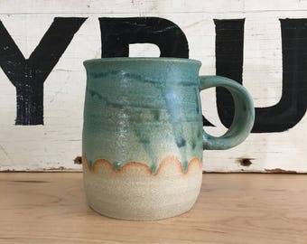 Teal Scalloped Ceramic with a Rounded Bottom Coffee Mugs | Modern Home | Handmade Pottery