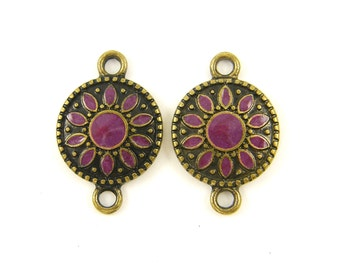 2 pcs Purple Antique Gold Jewelry Connector Link Earring Finding Pendant Drop Charm |PU3-16|2
