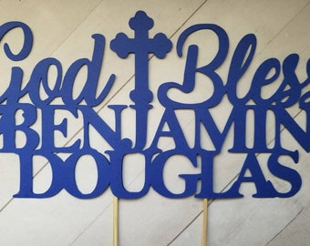 Personalized Cake Topper >>GOD + BLESS<< Baptism | Christening | Confirmation | Communion | Party Supplies | Decor