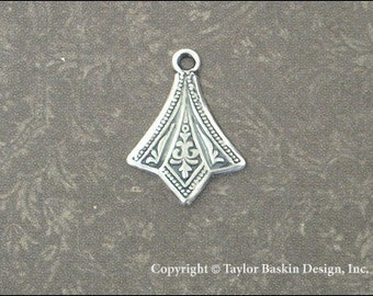 Antiqued Sterling Silver Plated Victorian Earring or Pendant Drop (item 1110 AS) - 6 Pieces