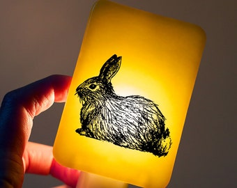 Bunny Nightlight on Marigold Yellow Fused Glass Night Light - Gift for Baby Shower or Nature Lover - Woodland Animal - Baby Bunny Rabbit