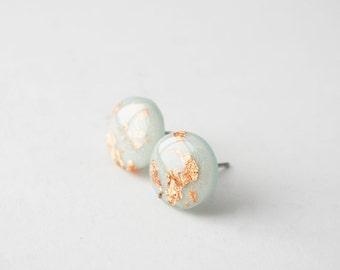 Copper Stud Earrings, Foil Studs, Pastel Studs, Copper Foil Circle Studs, Hypoallergenic Studs, Nickel Free Titanium Jewelry