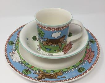 Mikasa Farm Friends 3-Piece Childrens Dinnerware Set & Childrens dinnerware | Etsy