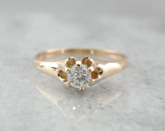 Lovely Antique Solitaire With Bright Diamond Center J4DU34-P