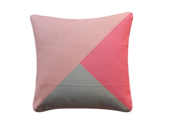 Pink Grey Color Block Pillow Cover Geometric Pattern Color Block Cushion Cover Throw Cushion Cover 221