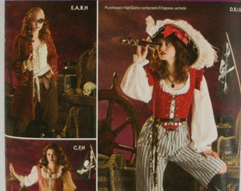 Simplicity 3677 Misses' Pirate Costume Sewing Pattern Size 6, 8, 10, 12