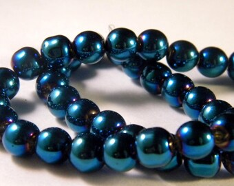 50 strands glass beads, blue - colored metal plated AB - blue - 8 mm - A-PP-04