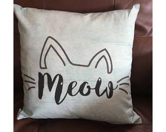 Light Blue Meow Cat Throw Pillow