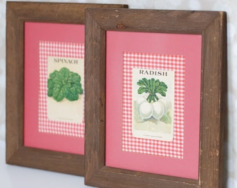 Pair of Framed Antique Lithograph Seed Packets - Red Artwork - Wall Hanging - Gingham - Botanical Art - Wood Frame