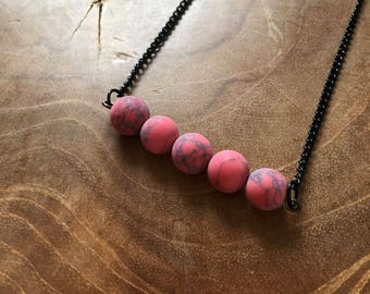 Red Black Turquoise - necklace with 5 beautiful round matte red synthetic turquois beads. Gemstones, rocks, minerals, boho, gypsy, minimal