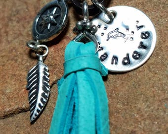 Wanderer - Sterling Silver and Aqua Tassel Necklace - Leather Boho Style