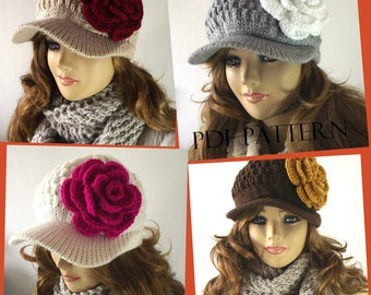 KNITTING HAT PATTERN Newsboy Brim Cap Sabrina Hat with Crochet flower pdf pattern instant Download Pattern include Pictures Tutorial