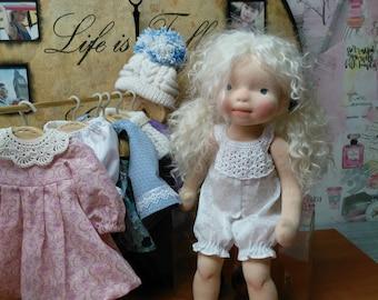 Liz 15'' OOAK fiber art doll, Waldorf Inspired doll, Soft Sculptured Doll, Handmade Cloth Doll