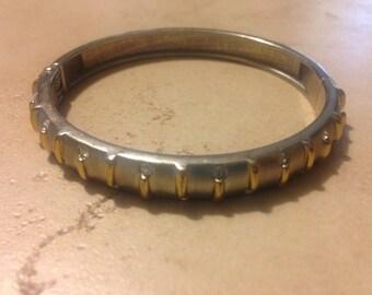 Vintage Silver Bracelet Rhinestone Gold Clamp Bangle Costume Jewelry