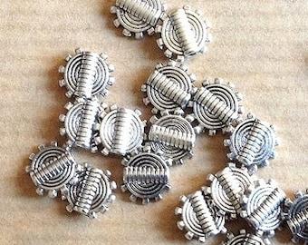 Set of 10 mm Tibetan silver Sun beads