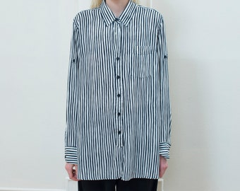vintage navy striped shirt large | blue white button down blouse | oversized striped shirt | silky striped button down top | 80s | 1980s