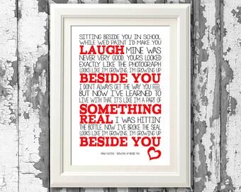 Paolo Nutini - Growing Up Beside You - Song Lyrics Art Print  music lyric gift  music typography printed lyrics - lyric design
