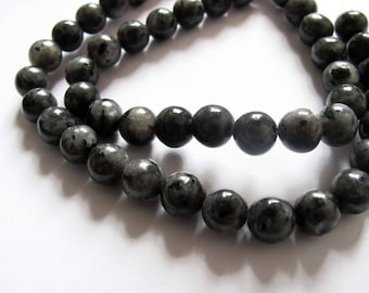 40 beads of black labradorite with iridescent silvery gray 5 / 6mm