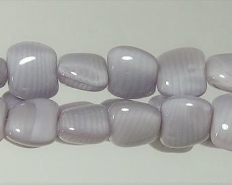 13x14 Purple swirl Czech Glass Pillow Beads