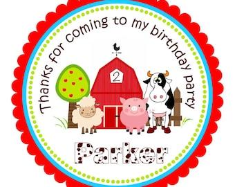 Barnyard Stickers, Personalized Farm Sticker, Barnyard Gift Tags, Barnyard Birthday Party - Set of 12