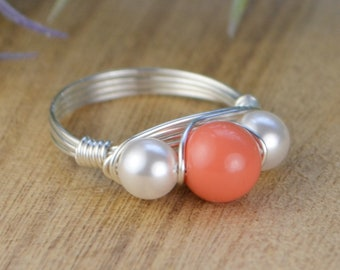 Faux Coral and Crystal Pearl Ring-  Sterling Silver, Yellow OR Rose Gold Filled Wire Wrapped Ring -Size 4 5 6 7 8 9 10 11 12 13 14
