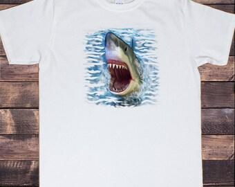 Mens White T-Shirt Deep Blue Sea Jaws Shark Novelty Print TSS7