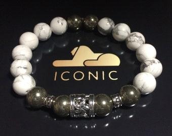 Men's jewelry Silver & Howlite 10mm beaded Bracelet