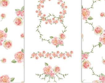 ROSES WATERCOLOR, 2 frames, 2 embellishments, 2 patterns/papers without background, hand painted clip art, 6 png files - 300 dpi