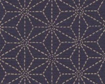 Fabric - Sevenberry navy stitched star print - medium weight woven cotton