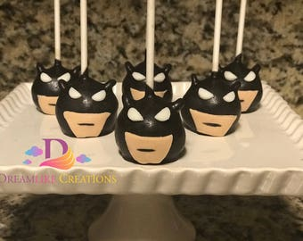 Cake Pops: 12 Batman Inspired Cake Pops Perfect for Birthday Party Favors - Superhero Party Favors