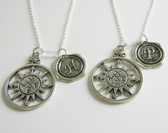 2 Best Friends Compass Initial Necklaces BFF