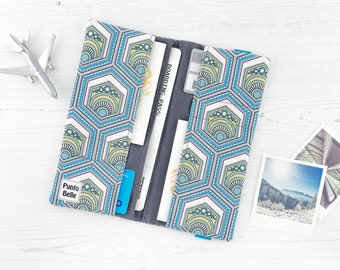 Boarding Pass Wallet // Travel Wallet In Exclusive Fabric - Eco // Geometric Pattern // Wanderlust // Gifts For Women // Travel Gifts