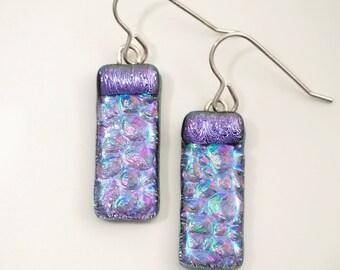 Purple Dichroic Fused Glass Earrings - Violet Bar Earrings - Purple Drop Earrings - Fused Glass Jewellery - Handmade Earrings EE 645