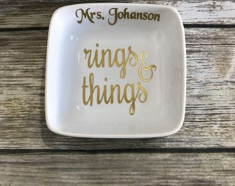 Personalized Ring Dish, Jewelry Dish, Personalized Ring Holder, Wedding Gift, Bridesmaid Gift, Personalized Trinket Dish, Engagement Gift