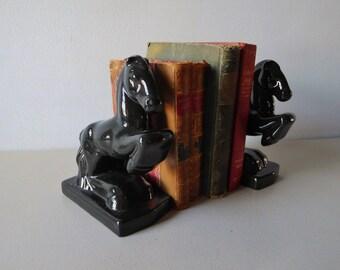 Vintage black horse bookends Horse figurines Equestrian decor