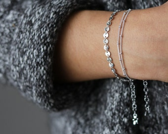 Delicate Silver Bracelet - Silver Coin Bracelet - Dainty Bracelet - Layering Bracelet - Bohemian Jewelry - Minimalist Jewelry - Gift for Her