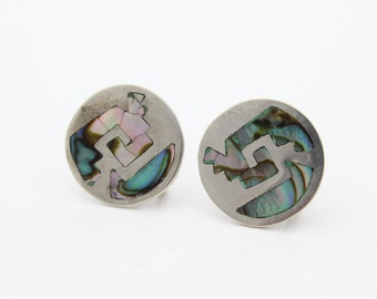 Vintage Sterling Silver Screwback Earrings w Abalone Mosaic Inlay Taxco Mexico. [2007]