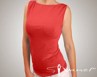 Tank top / Sleevless blouse / Boat neck top / Wide straps top / Causal&formal top / Stylish tank top / IVANEL / 28 colors, S, M, L, XL, XXL