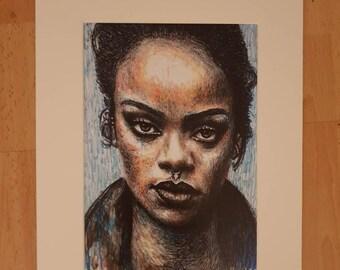 Mounted print of original portrait of Rihanna